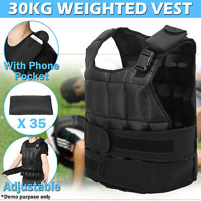 30KG Adjustable Weight Weighted Vest Crossfit Training MMA Gym Exercise Fitness