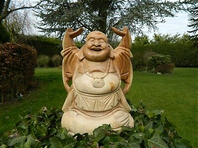 Wooden Buddha Carving Hand Carved Laughing Buddha Standing Fat Chinese Hands Up