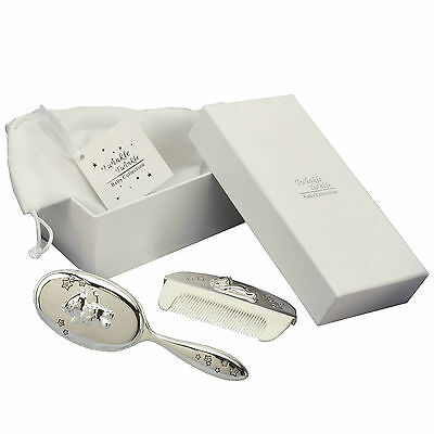 Brush & Comb Baby Set Twinkle Twinkle Pouch & Gift Tag Sl.Ptd Engraved FOC CG309
