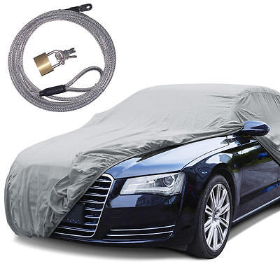 "Rain Tech  Outdoor Car Cover Anti UV Rain Water Resistant (190"") W/ Secure Lock"
