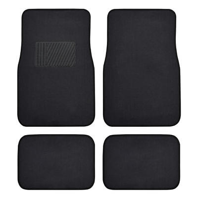 Auto Floor Mats for Car - Classic Carpet w/ Heel pad Black 4 Pieces Front & Rear
