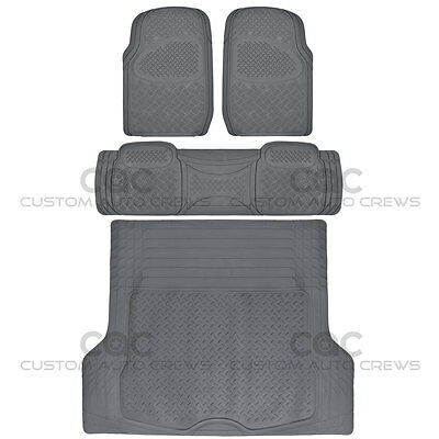 Gray Rubber Floor Mats for Car SUV w/ Cargo Mat 5 Piece Full Set Max Duty