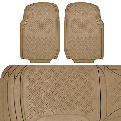 Beige All Weather 3D Rubber Floor Mats - 3 PC for Car Truck SUV
