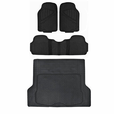 Rubber Floor Mat for Car SUV HD All Weather Liner Black w/ Trunk Mat 4 Piece Set