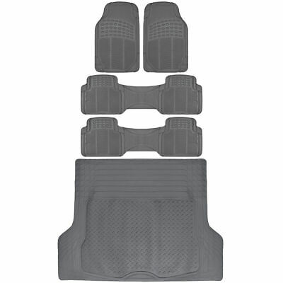 Suv Floor Mats >> Van Suv Floor Mats All Weather 5 Piece Rubber Mat 3 Row Trunk Mat