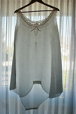 French Victorian/Edwardian hand embroidered camisole/slip/undies combo LARGE sz