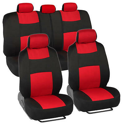 Car Seat Covers for Ford Mustang 2 Tone Red & Black w/ Split Bench