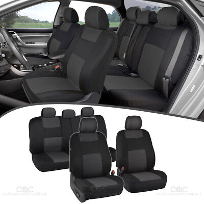 Charcoal Full Set Car Seat Covers Premium Double Stitching w/ Split Bench