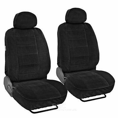 Seat Covers Front Pair 4pc Black Encore Velour Fabric Auto Interior