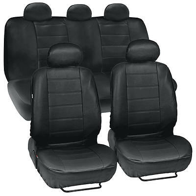 Black Synthetic Leather Full Set Car Seat Covers for Car With Accessories
