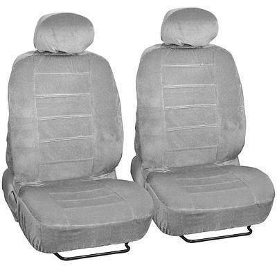 Front Pair Seat Covers 4pc Gray Regal Cloth Fabric Dotted Tweed Grey