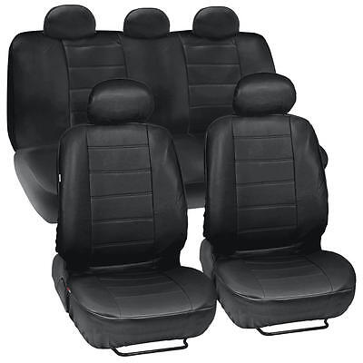 Black Synthetic Leather Set Car Seat Cover Genuine Leather Feel Front & Rear Set