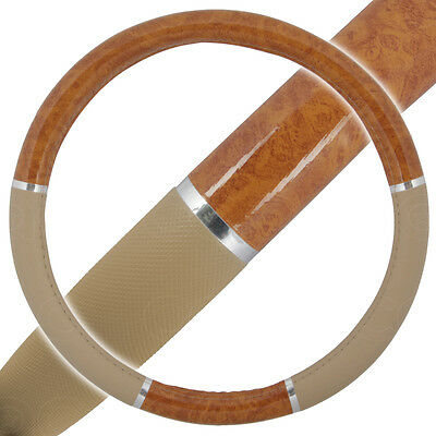 Light Wood Steering Wheel Cover for Auto Car SUV Lux Grip Beige Syn Leather