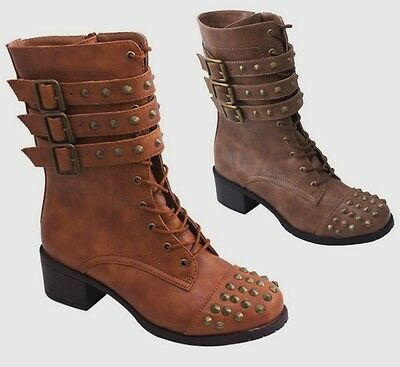 dffd058fd1632 New Women's Spike Combat Boots Mid Calf Strappy Buckle Lace Up Tan Brown  5.5-10