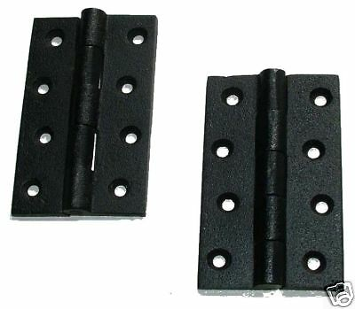 "A Pair Of 4"" x 2-1/2"" Butt Hinges in Smooth Black Cast Iron (AX30)"