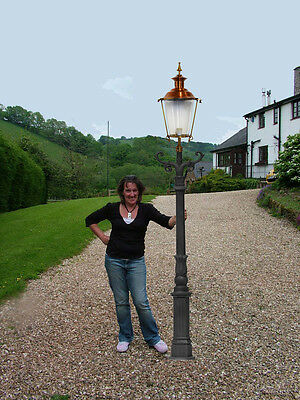 """Cast Iron & Copper 95"""" Lamp Post Victorian Style  (E40 curved ladder bar Cop)"""