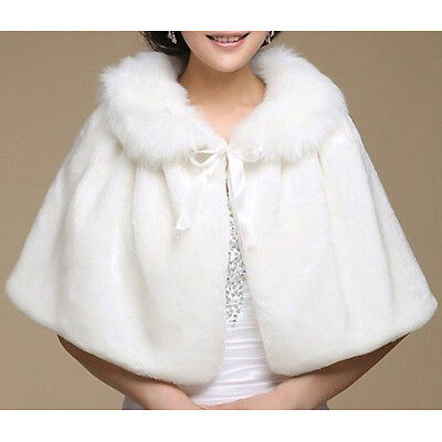 Winter Ivory Shawl Women's Wedding Evening Party Wrap Faux Fur E8