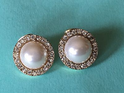 1980's Vintage Gold Tone  Bezel Mabe Pearls & Pave Stones Pierced Small Earrings