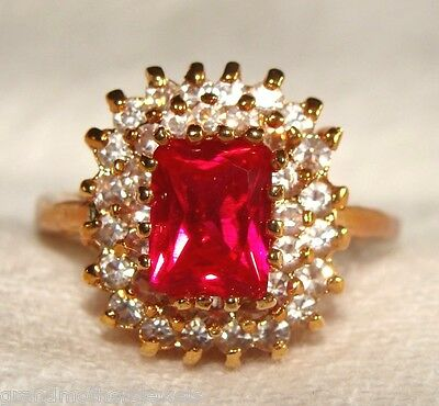 Gorgeous Vintage Lindenwold 14K GP, Genuine Ruby & CZ Cluster Ring SZ 9 NWT