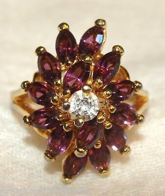 Beautiful Vintage 14K GE & Amethyst & Ice Cubic Zirconia Cluster SZ 9 Ring NICE
