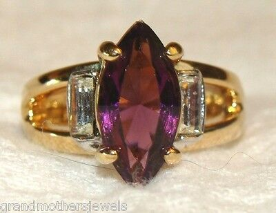 Beautiful Vintage 18K GE & Amethyst & Ice Cubic Zirconia Statement SZ 7 Ring