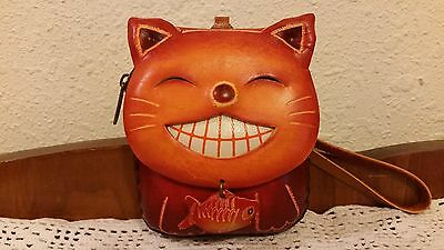 Animal Shape Cross Body Leather Happy Cat Coin Key Chain Change Wallet Purse