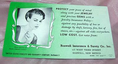 Vtg 1940's Advertising Ink Blotter, Protect Jewelry, Roswell Insurance, Nm