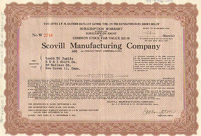 Scovill Manufacturing Company > 1946 Connecticut warrant stock certificate