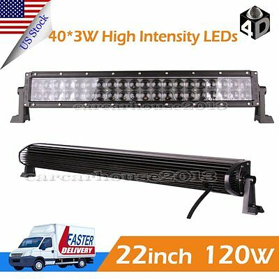 22inch 120w LED Work Light Bar Flood Spot Offroad Truck Fog Driving SUV UTE 4D