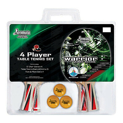 Formula 4 Player Table Tennis Set 4 Bats 3 Balls Warrior 2 Star Free Postage