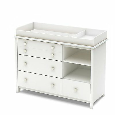 Little Smileys Changing Table w/Removable Changing Station, Pure White 3740337