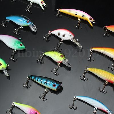 30pz Esche Artificiali Pesca Minnow Spinning Mare Fiume Fishing Lures CrankBaits