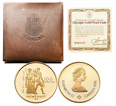 Canada 1976 $100 Olympic 1/2 oz Gold Proof Coin