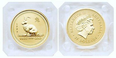 Australia 1999 Year of Rabbit 1/4 oz Gold Coin BU