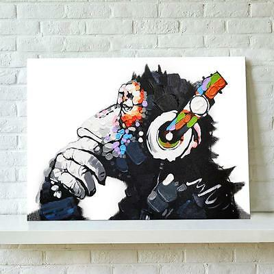 Modern Abstract Wall Art Print Picture Painting On Canvas DJ Monkey With Frame