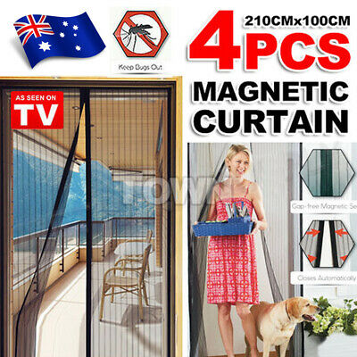 4x Magic Magnetic Door Curtain Mesh Fly Screen Mosquito Insect Bug Hands Free