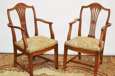 Antique Georgian Style Oak Carver Armchairs in Pair(2)  - FREE Delivery [PL2064]