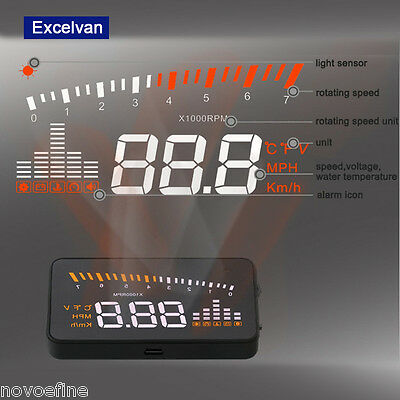 "X5 3"" Car HUD Head Up Display OBD2 II Speed Warning System Fuel Consumption UK"