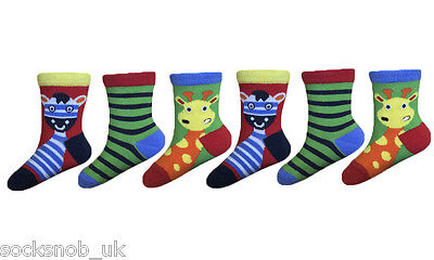 Baby Boys Fun Zoo Animals cotton socks, 3 sizes (Pack of 6 Pairs)