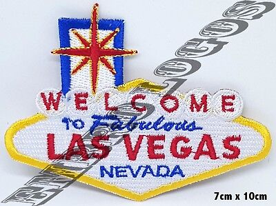 10977 WELCOME to LAS VEGAS Patch iron-on embroidered Road Sign Highway  biker