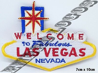 #977 WELCOME to LAS VEGAS Patch iron-on embroidered Road Sign Highway  biker