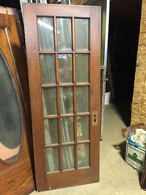 "H12 Antique Beveled Glass French Style Oak Door 29 3/4"" By 78"""