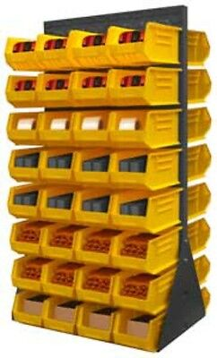 Durham Free Standing Louvered Panel Rack System Double Sided 64 Yellow Hook Bins