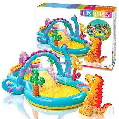 New Intex Dinoland Kids Activity Water Play Centre Paddling Pool Slide Official