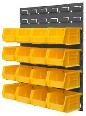 """Durham Free Standing Louvered Panel Rack System 16 Yellow Hook Bins 17""""W x 20""""H"""