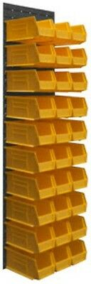 """Durham Wall Mounted Louvered Panel Rack System 30 Yellow Hook Bins 17""""W x 64""""H"""