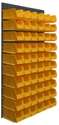 Durham Wall Mounted Louvered Panel Rack System 60 Yellow Hook Bins 34 1/2 x 12