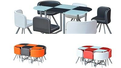 Space Saver Tempered Glass Table With 6 Chairs Diner Set