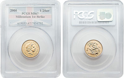 Great Britain 2000 Half Sovereign (First Strike) Gold PCGS MS-67