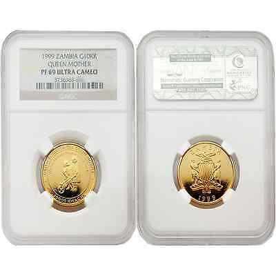 Zambia 1999 Queen Mother 10,000 Kwacha Gold NGC PF-69